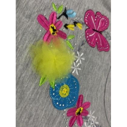 Cute Maree Junior Girls' Butterfly T-Shirt - Grey